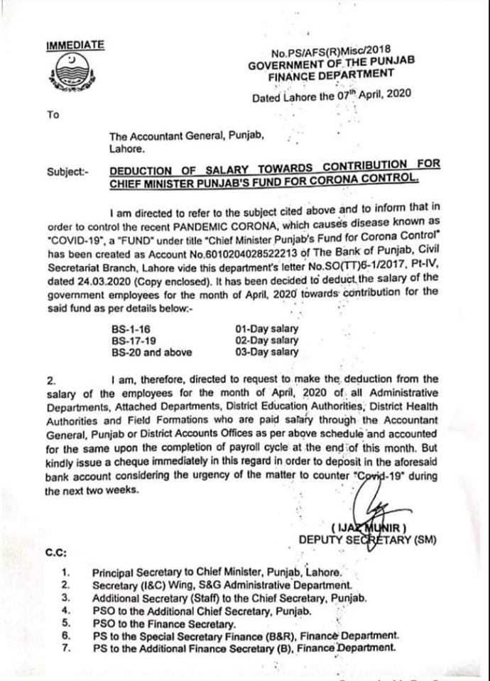 NOTIFICATION OF DEDUCTIONS OF SALARY TOWARDS CONTRIBUTION FOR CHIEF MINISTER PUNJAB'S FUND FOR CORONA CONTROL