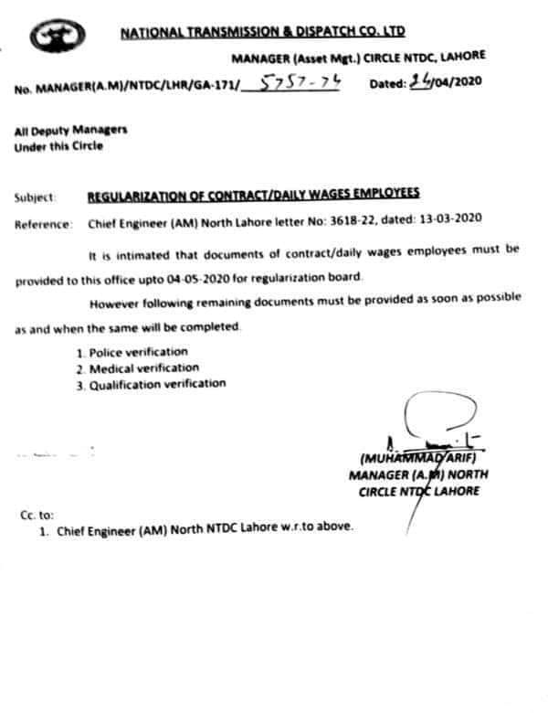 Regularization of Contract/Daily Wages Employees