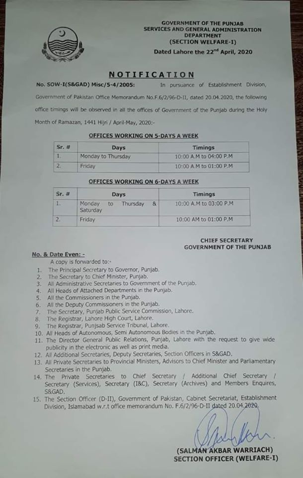 Notification of Office Timings