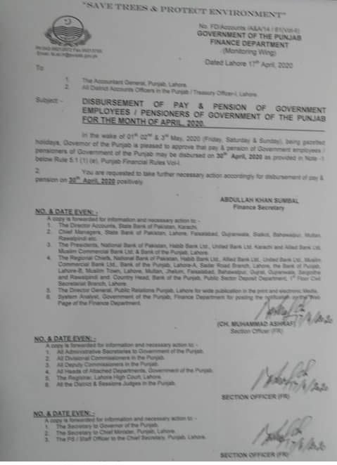 Notification of Advance Payment of Pay & Pension For the Month of April 2020
