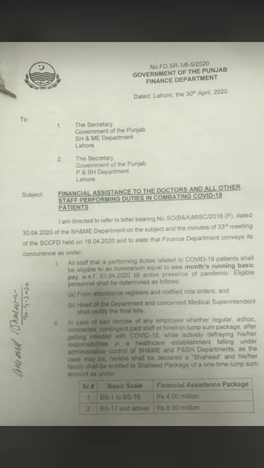 Notification of Financial Assistance to Front line Fighters Against COVD-19 Pandemic.