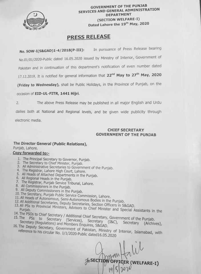 Notification of Public Holidays on Eid in Punjab 2020