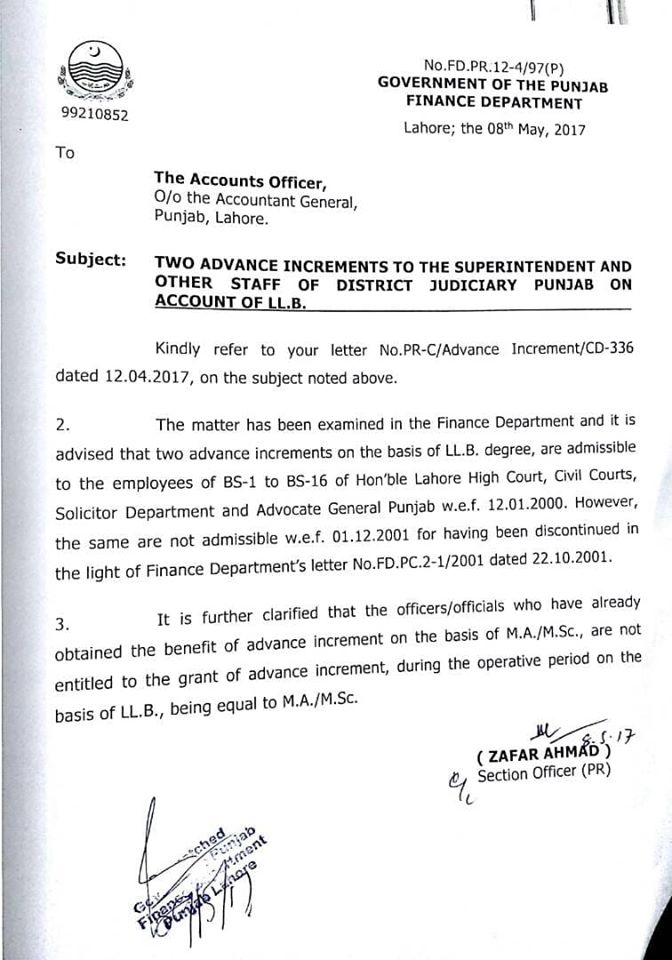 TWO ADVANCE INCREMENTS TO THE SUPERINTENDENT AND OTHER STAFF OF DISTRICT JUDICIARY PUNJAB ON ACCOUNT OF LLB