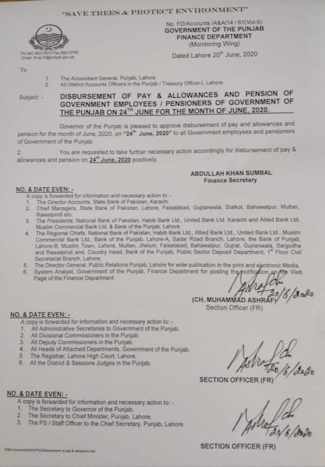 Disbursement of Pay and Pension For the Month of June 2020