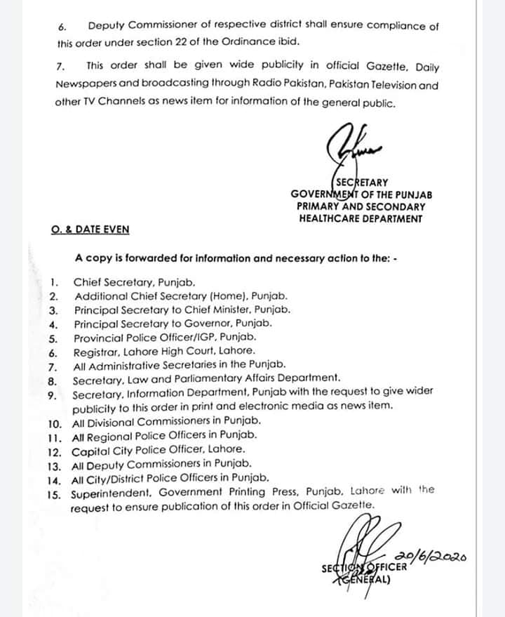 2Notification of New Instruction by Government of the Punjab