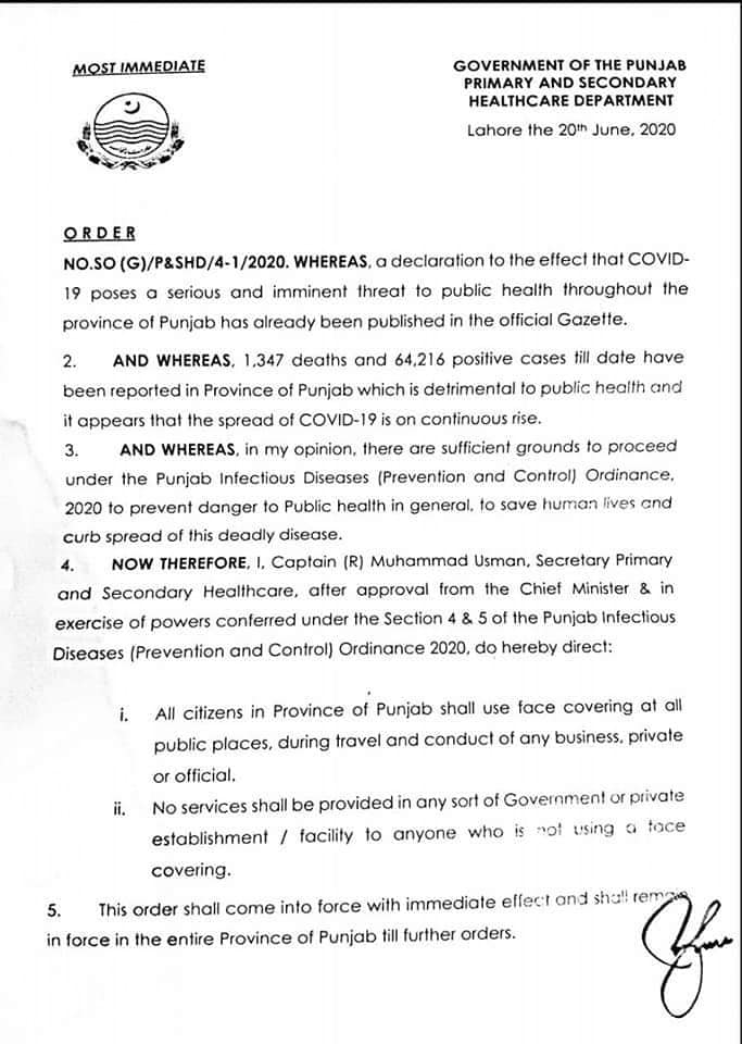 Notification of New Instructions Issued by Government of the Punjab