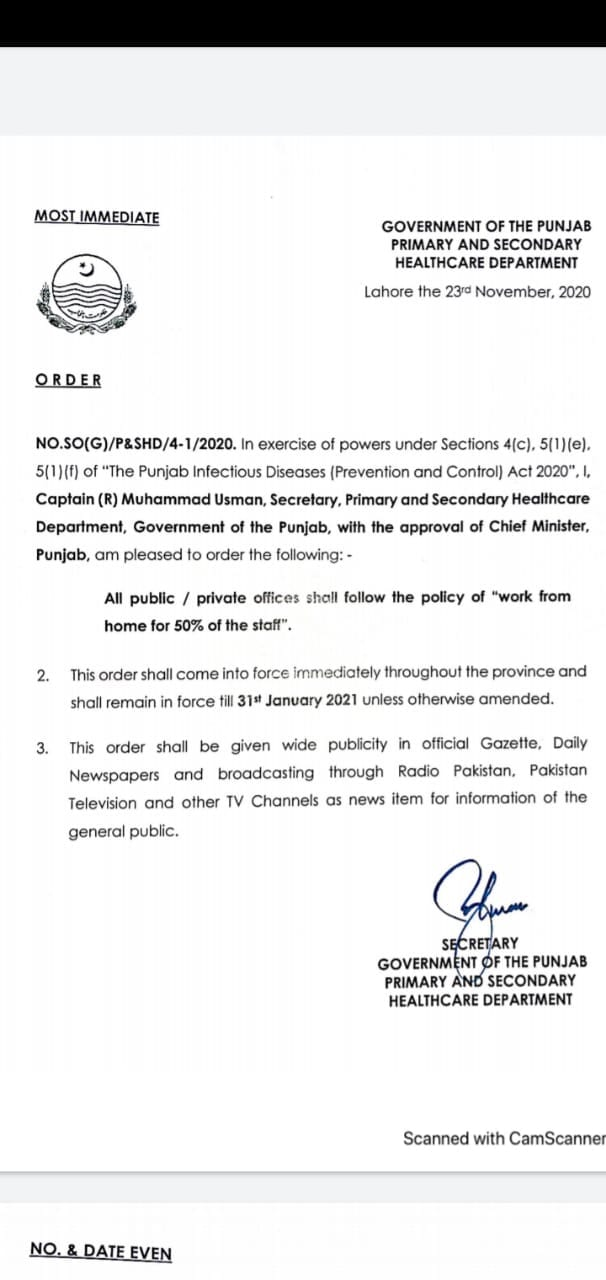 All Public and Private Offices shall follow the policy of Work from Home with 50% of the staff
