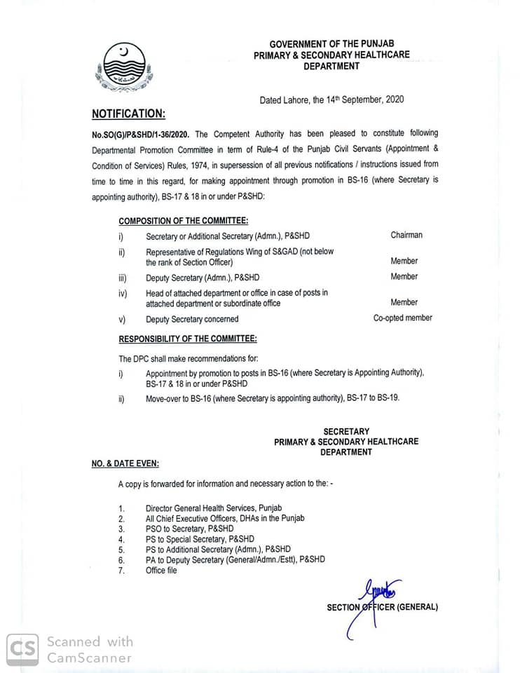 Notification of Constitution of Departmental Promotion Committee, Health Department Government of the Punjab