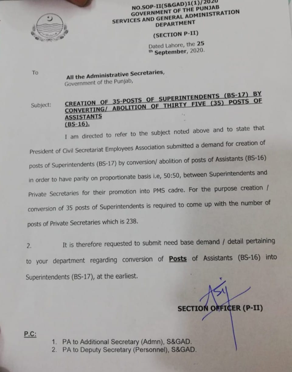 Notification of Creation of 35 Posts of Superintendents
