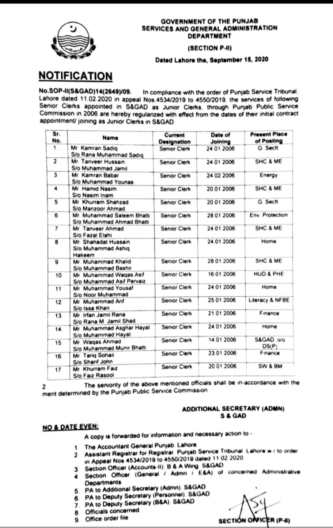 Notification of Regularization of Clerical Staff S&GAD