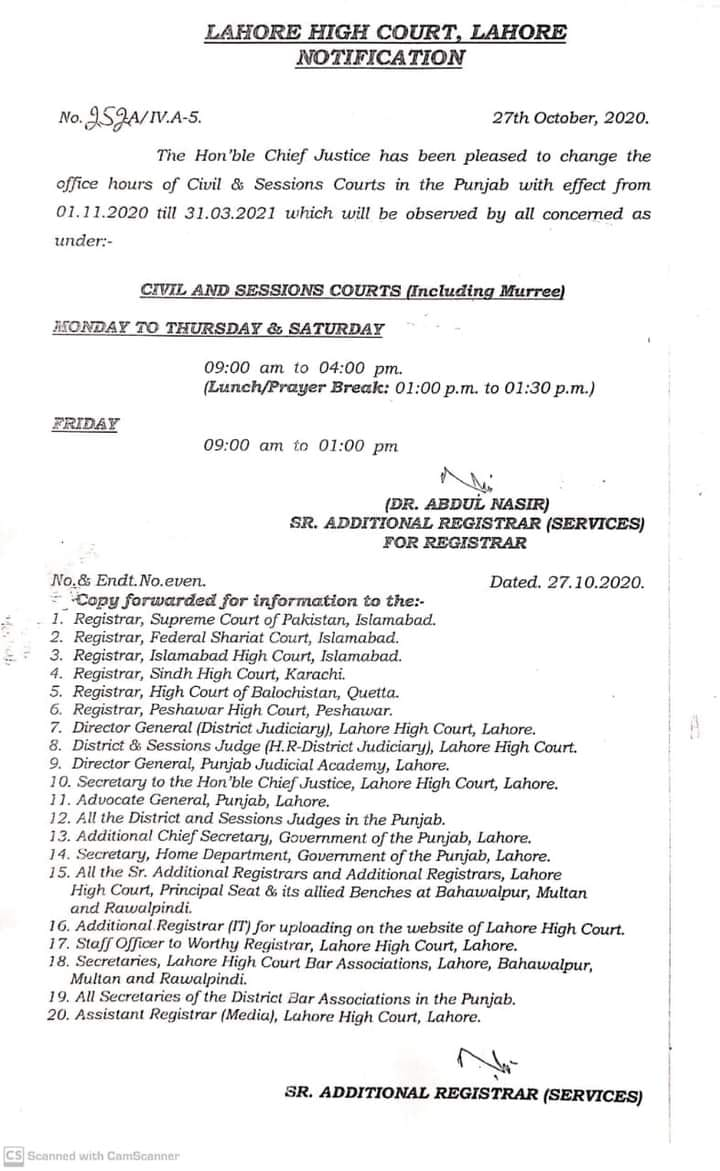 Office Timings Notification 2020