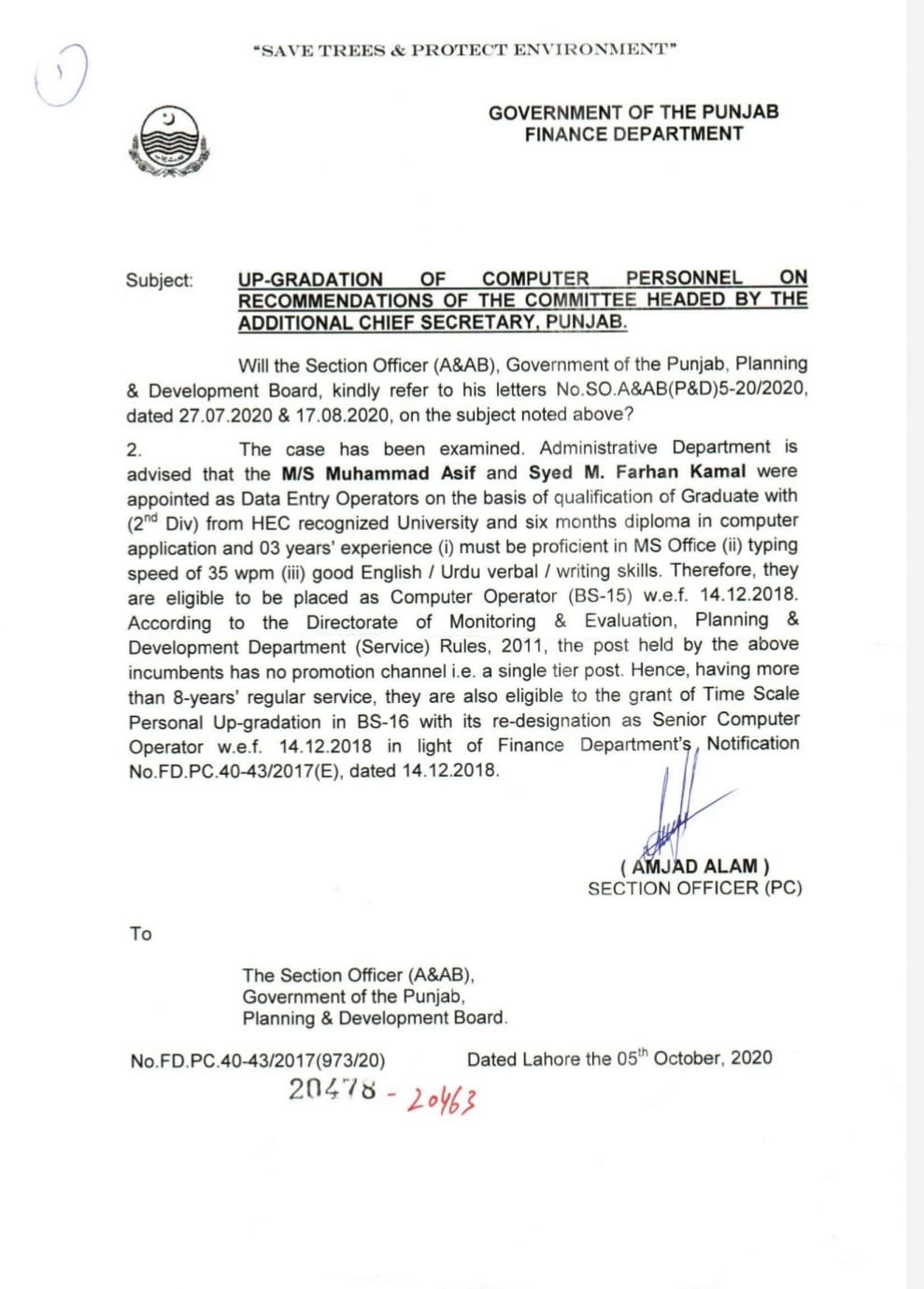 Notification of Up-gradation of Computer Personnel on Recommendations of Committee