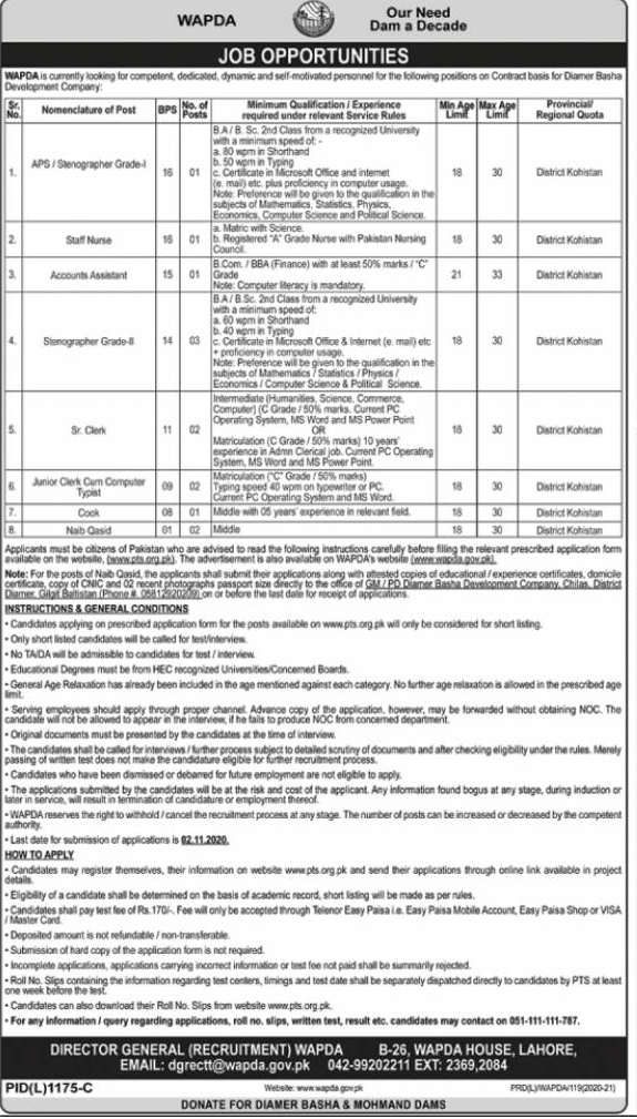 Advertisement of Jobs in WAPDA Pakistan