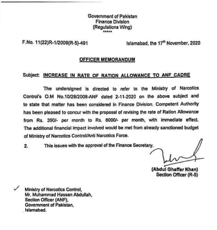 NOTIFICATION OF INCREASE IN RATE OF RATION ALLOWANCE TO ANF CADRE