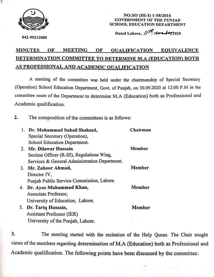M.A Education Equals To Both Professional and Academic Degree.