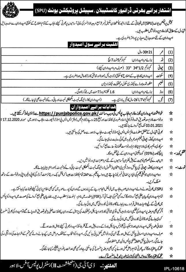 Punjab Police SPU Jobs 2020 for Constables