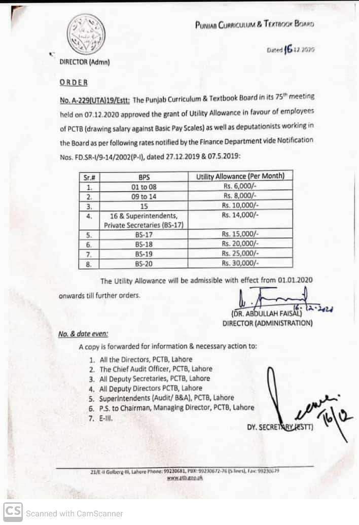 Notification of Utility Allowance Punjab Govt 2020