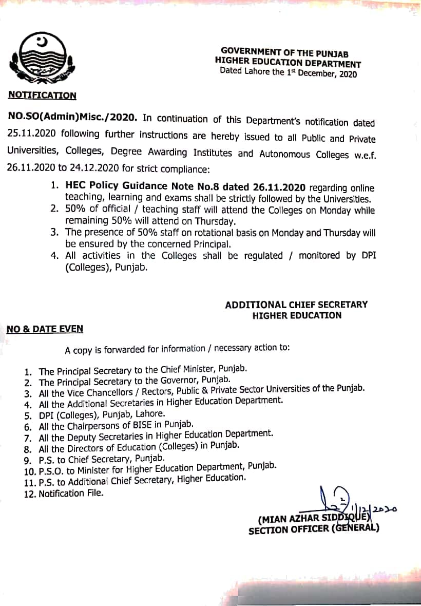 Notification of Attendance of Staff 50 % on Monday and 50% onThursday (50%)