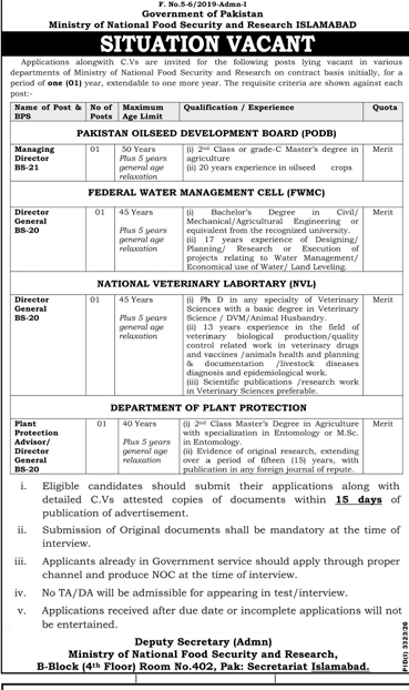 Ministry of National Food Security and Research Islamabad Jobs 2021