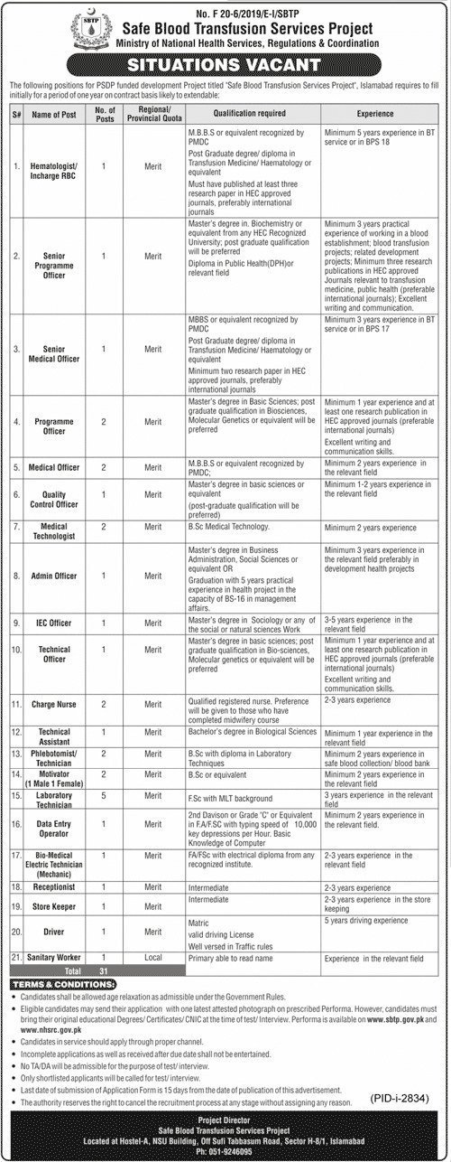 Jobs in Ministry of National Health Services December 2020