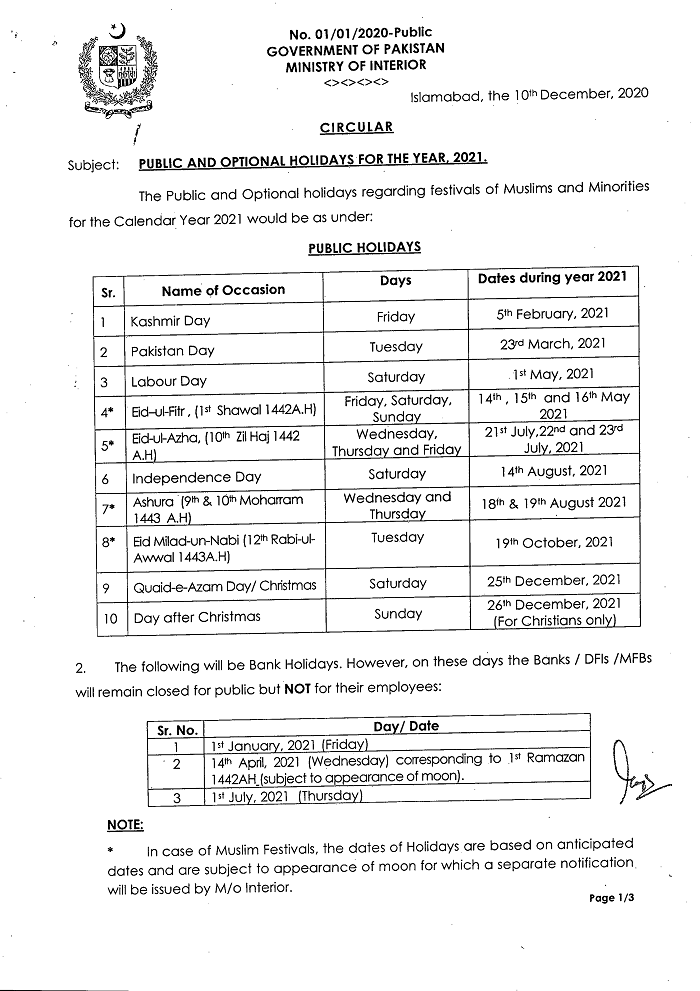 Notification of Public and Optional Holidays For the Year 2021