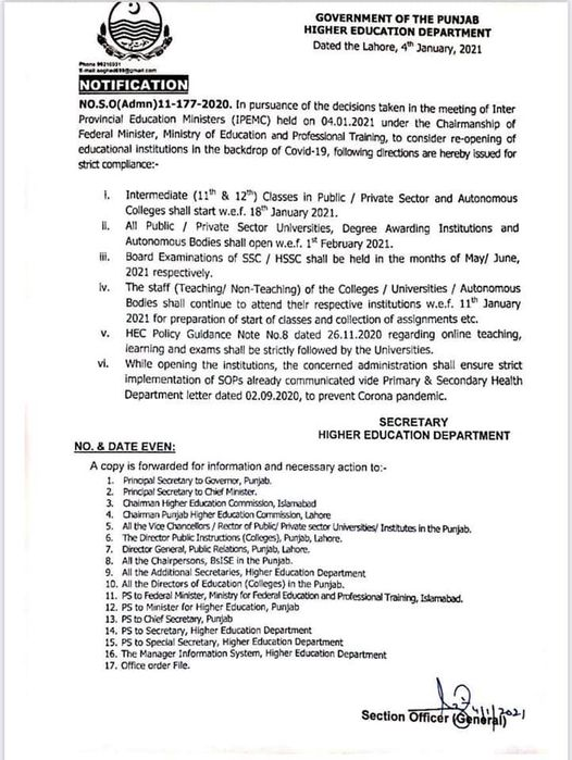 Notification of Opening Colleges and Universities Jan 2021