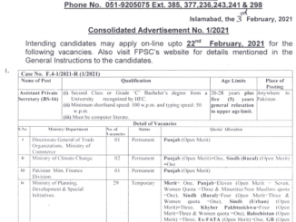 Latest FPSC Jobs February 2021