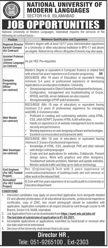 JOBS IN NATIONAL UNIVERSITY OF MODERN LANGUAGES (NUML)2021