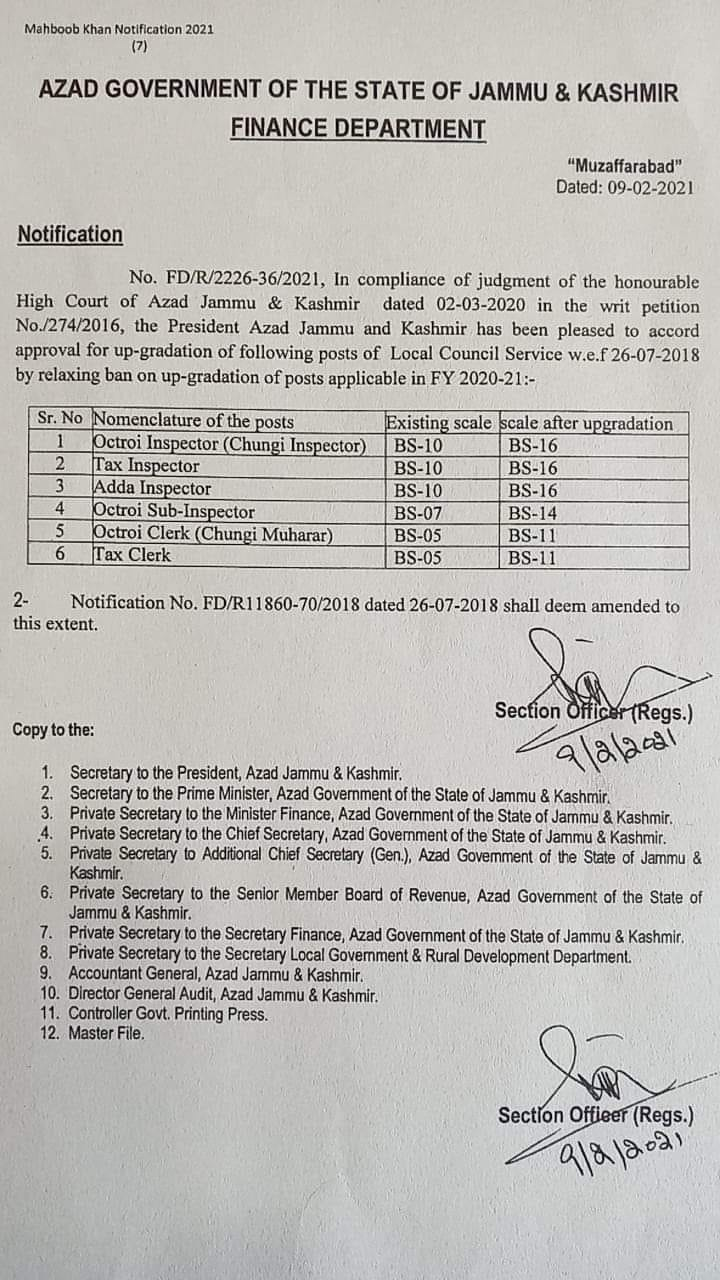 Upgradation of Various Posts of Local Council Services