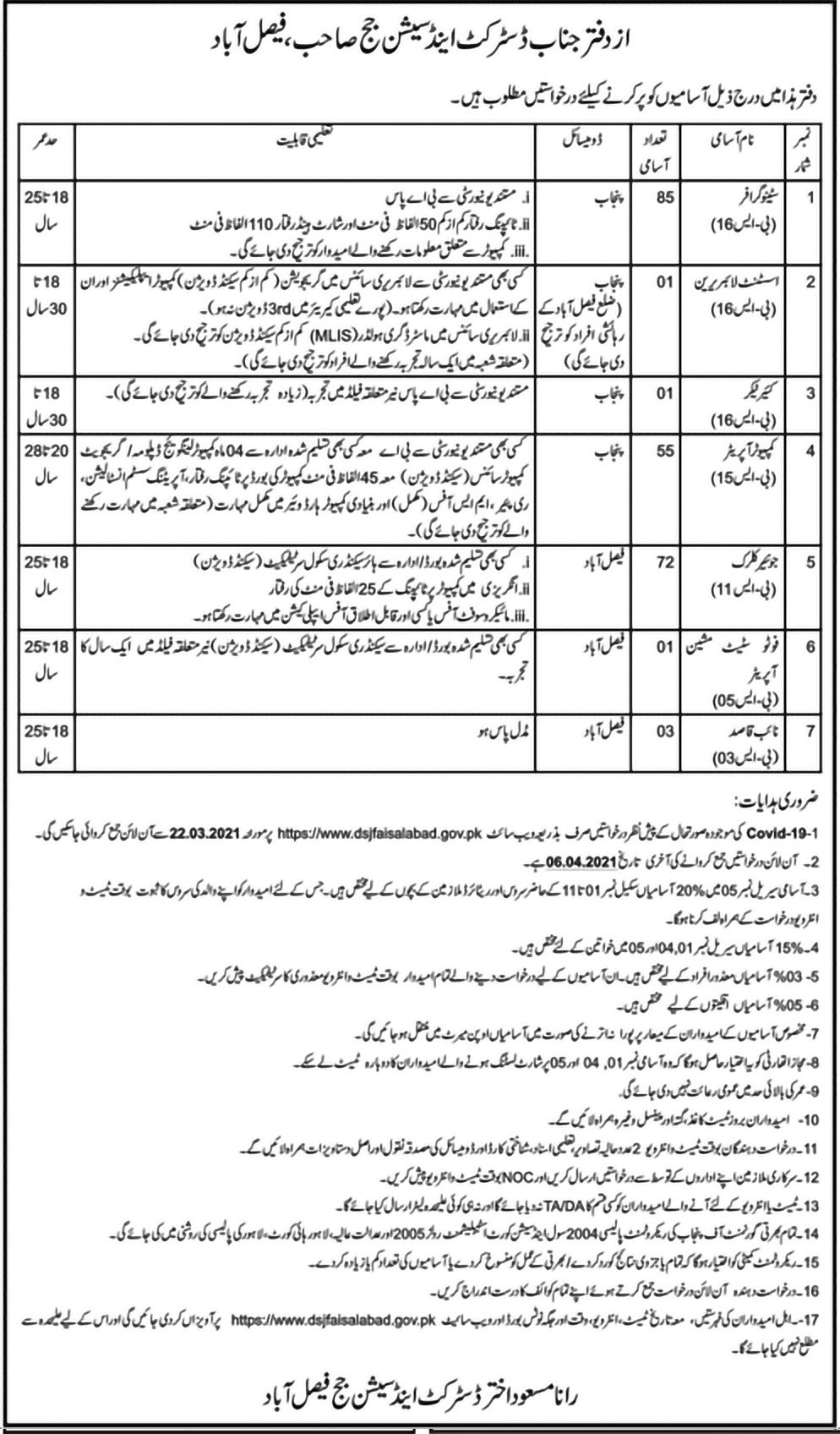 Advertisement of Jobs in District & Session Court Faisalabad Jobs 2021