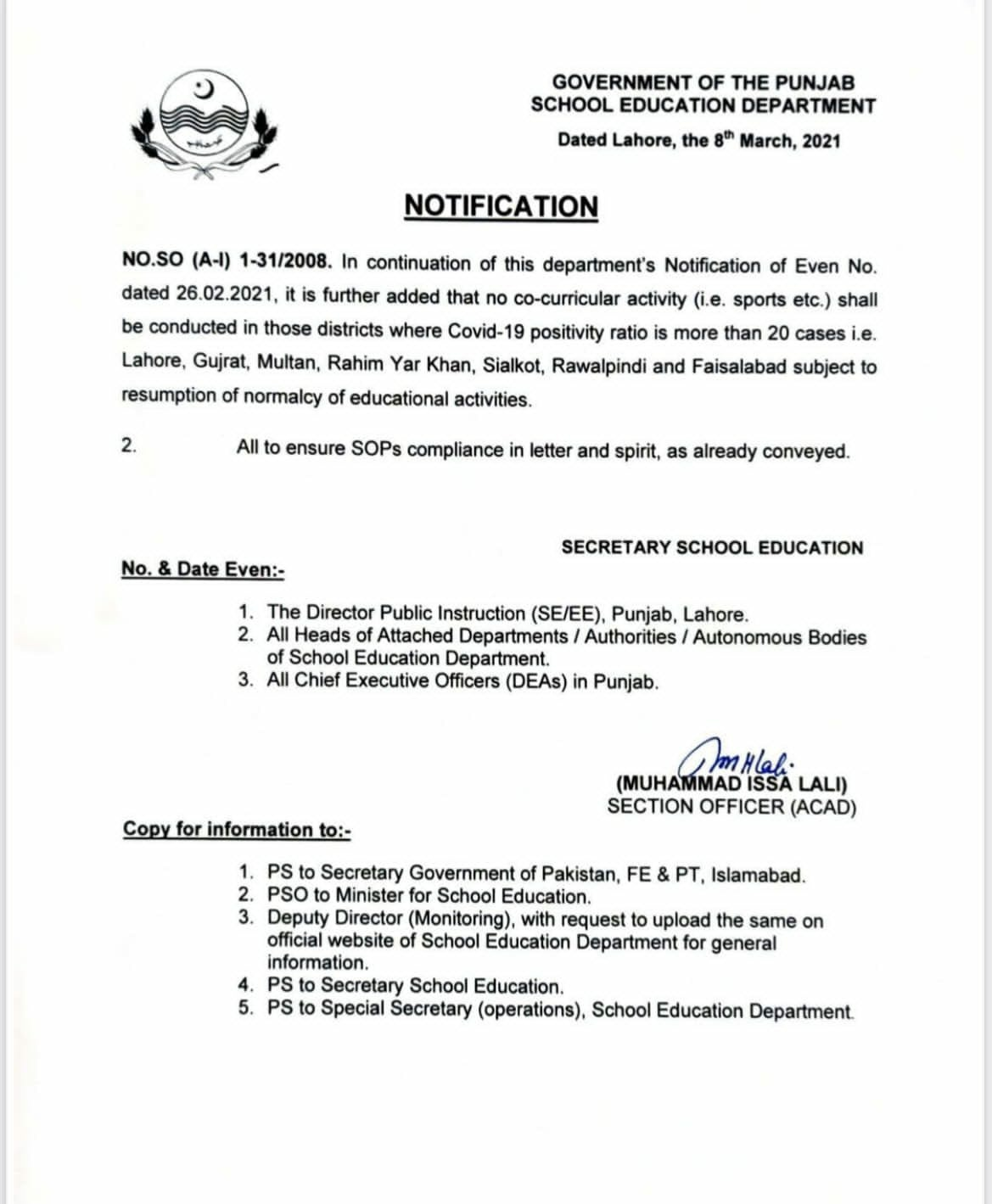 Ban on Curriculum Activities in 07 Districts of Punjab