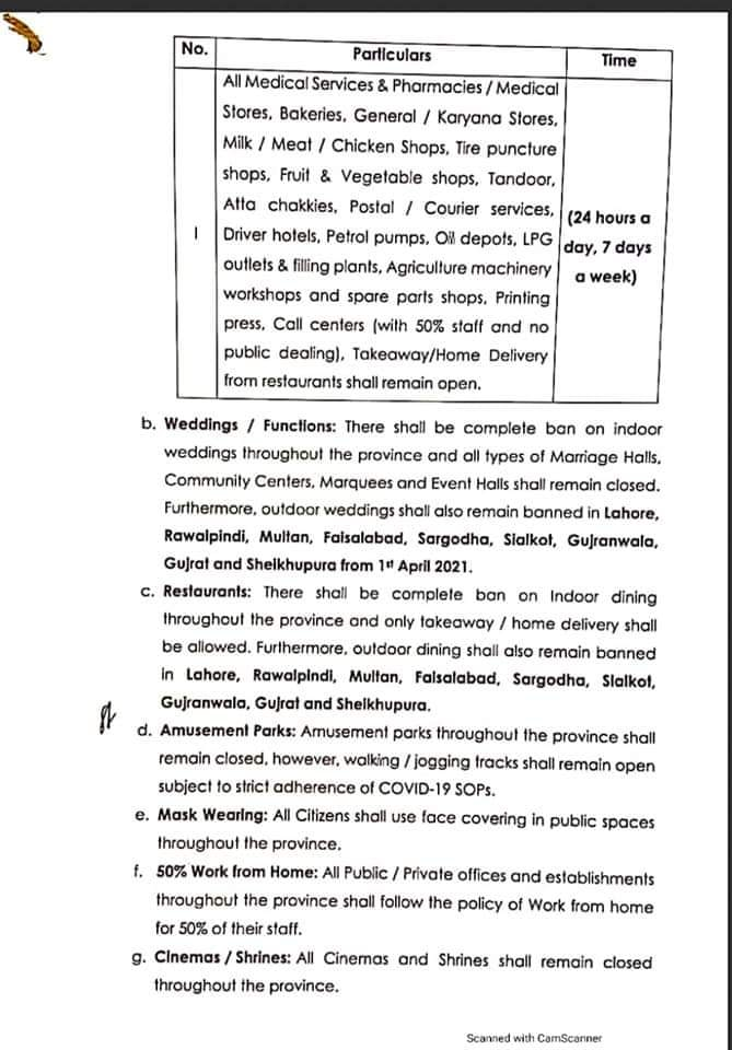 Notification of 50 % Work From Home Policy and COVID-19 Restrictions in Punjab