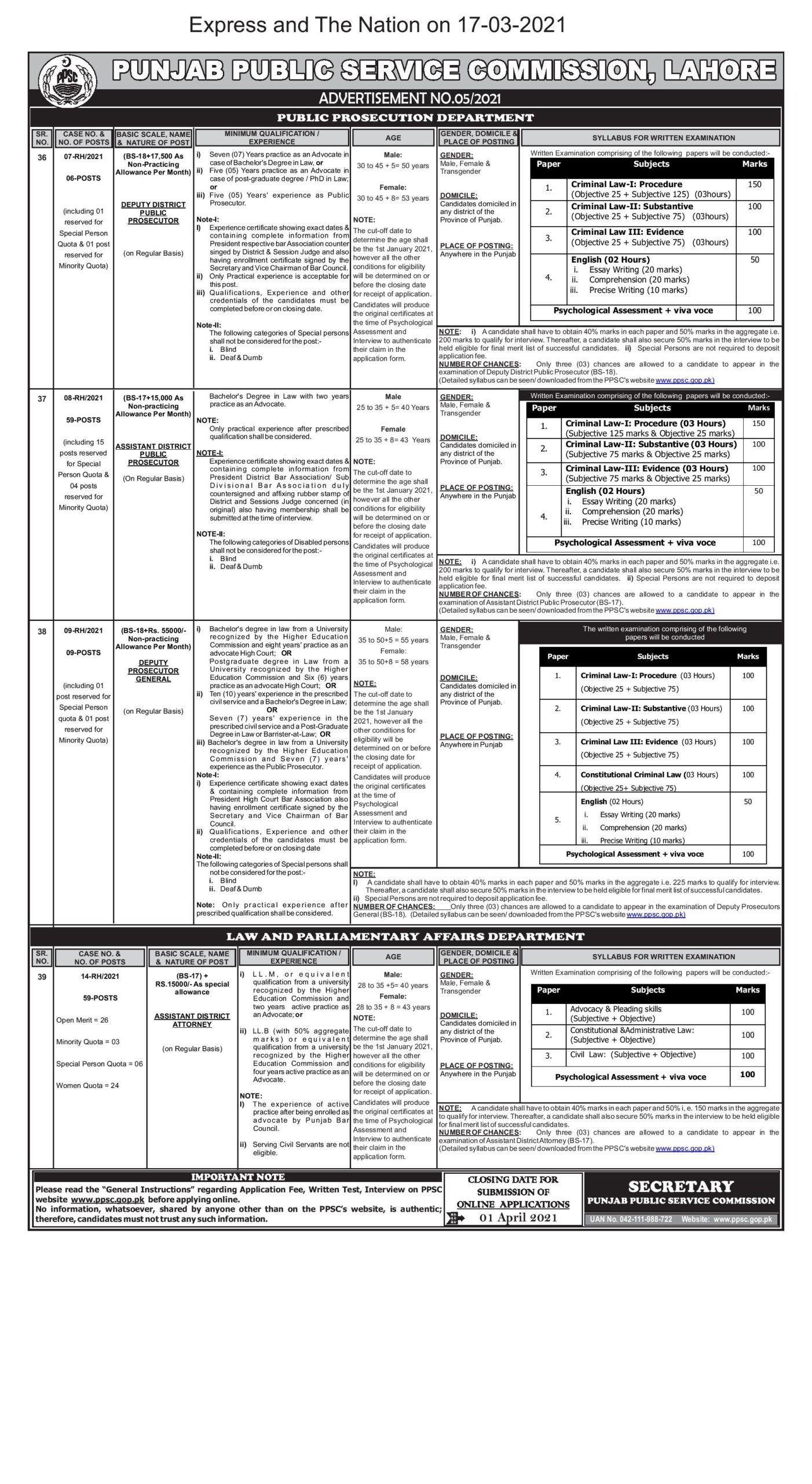 PPSC Jobs March 2021