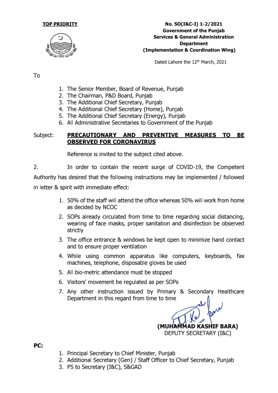 Notification of 50% Work From Home Policy