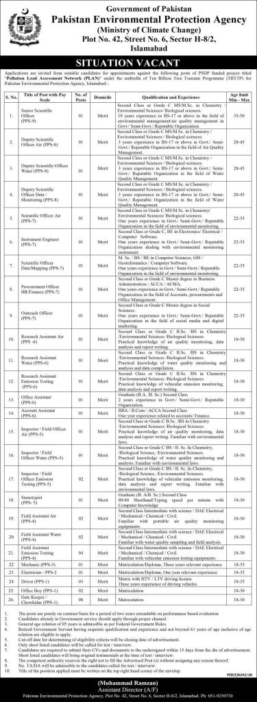 Carrier Opportunity in Pakistan Environmental Protection Agency 2021