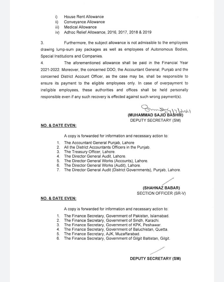 Grant of Special Allowance @ 25% 2021 Punjab
