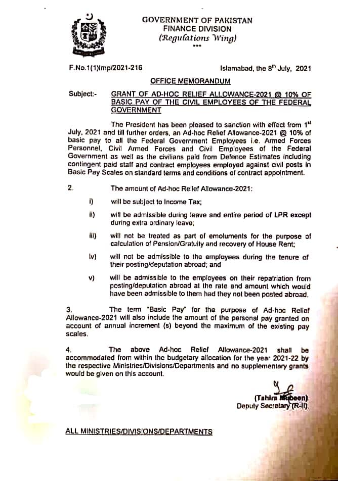 NOTIFICATION OF AD-HOC RELIEF ALLOWANCE-2021 @ 10% OF BASIC PAY OF THE CIVIL EMPLOYEES OF THE FEDERAL GOVERNMENT