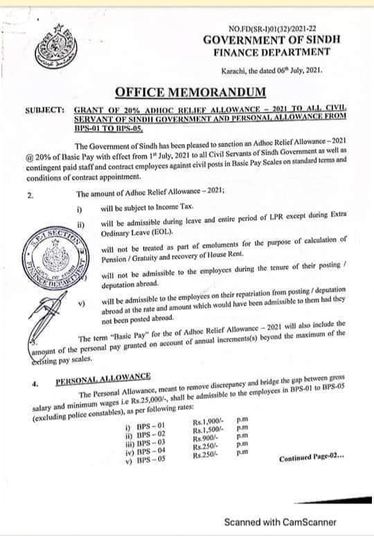 Notification of Increase in Salary 2021 Sindh
