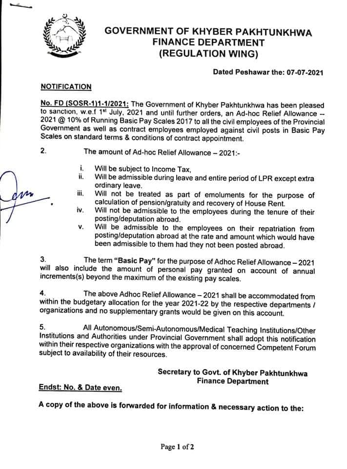 Notification of Adhoc Relief Allowance @ 10% To All Provincial Employees KPK