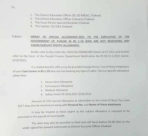 Demand of List of Employees For The Grant of 25% Special Allowance Punjab