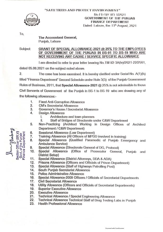 Grant of Special Allowance 2021 @ 25% To The Government Employees of the Punjab in BS-01 to BS-19
