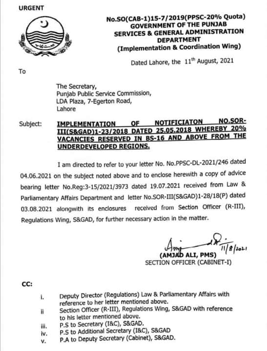Restoration of 20 % Job Quota For Candidates of South Punjab (Special Zone)