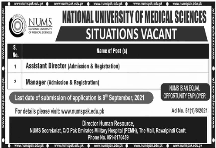 National University of Medical Sciences NUMS Jobs 2021
