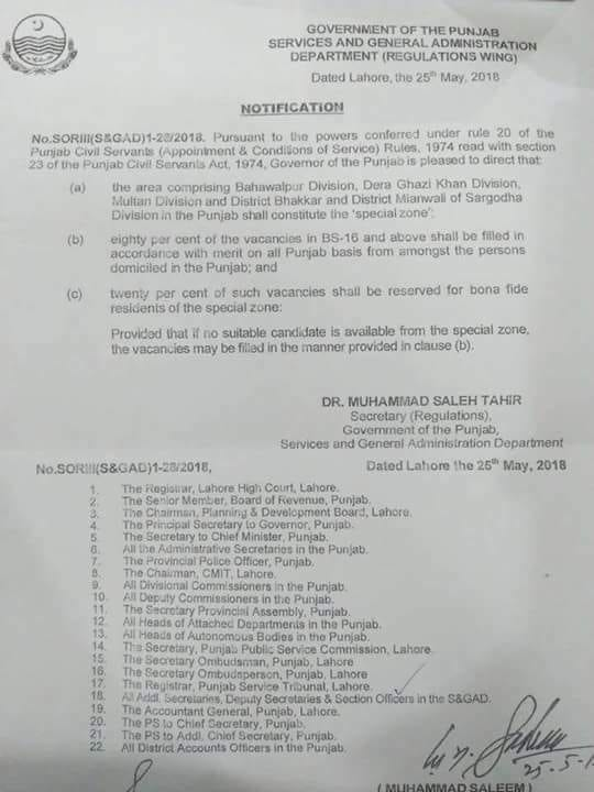 Restoration of 20 % Job Quota For Candidates of South Punjab (Special Zone) 2