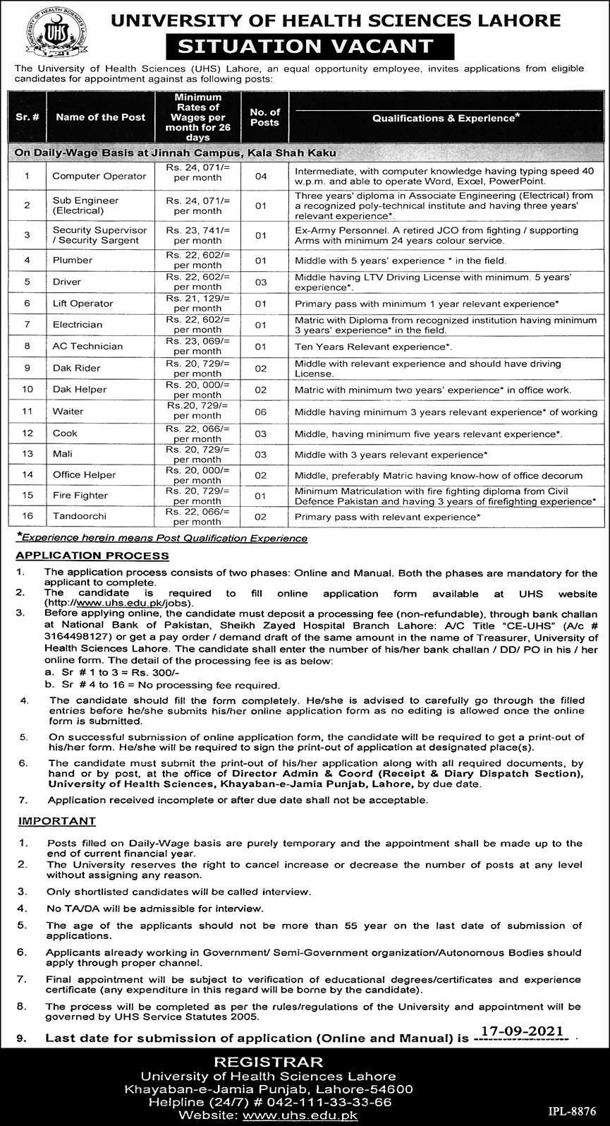 Announcement of Jobs in University of Health Sciences Lahore