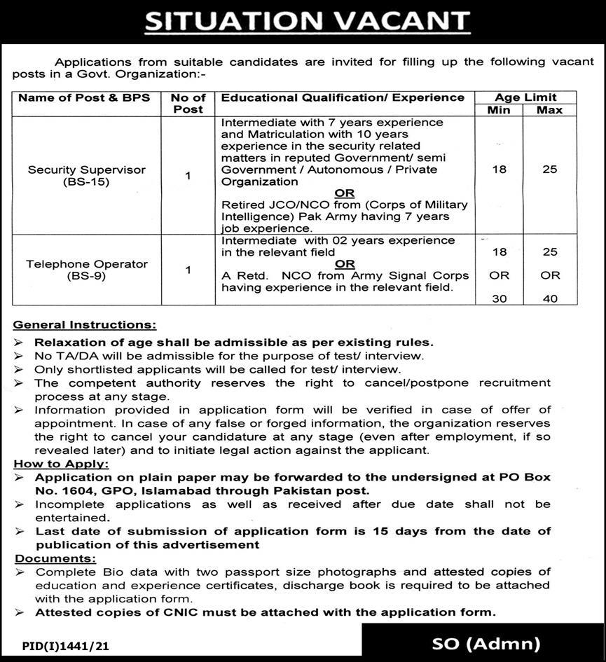 Jobs of Security Supervisor and Telephone Operator in Government Organization 2021