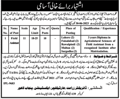 Announcement of Jobs of Field Assistants in Agriculture Department Punjab
