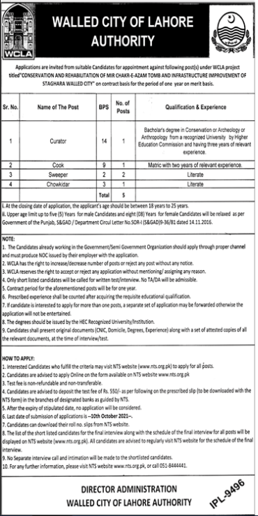 Walled City of Lahore Authority Jobs 2021