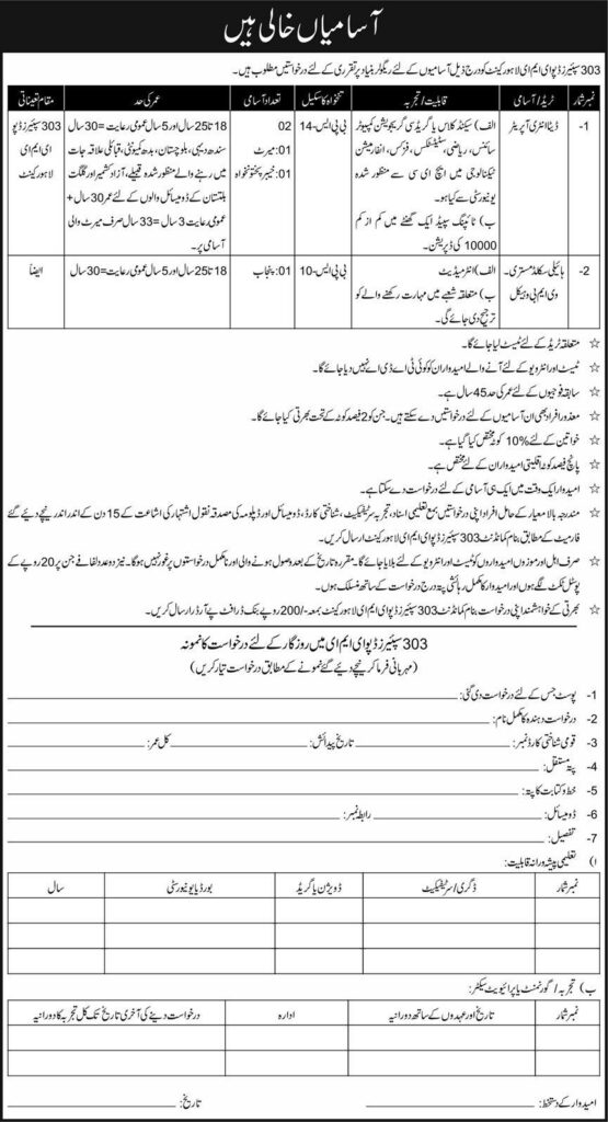 303 Spares Depot EME Lahore Cantt Jobs 2021
